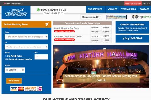 Efendi Travel'in B2C Transfer sitesi